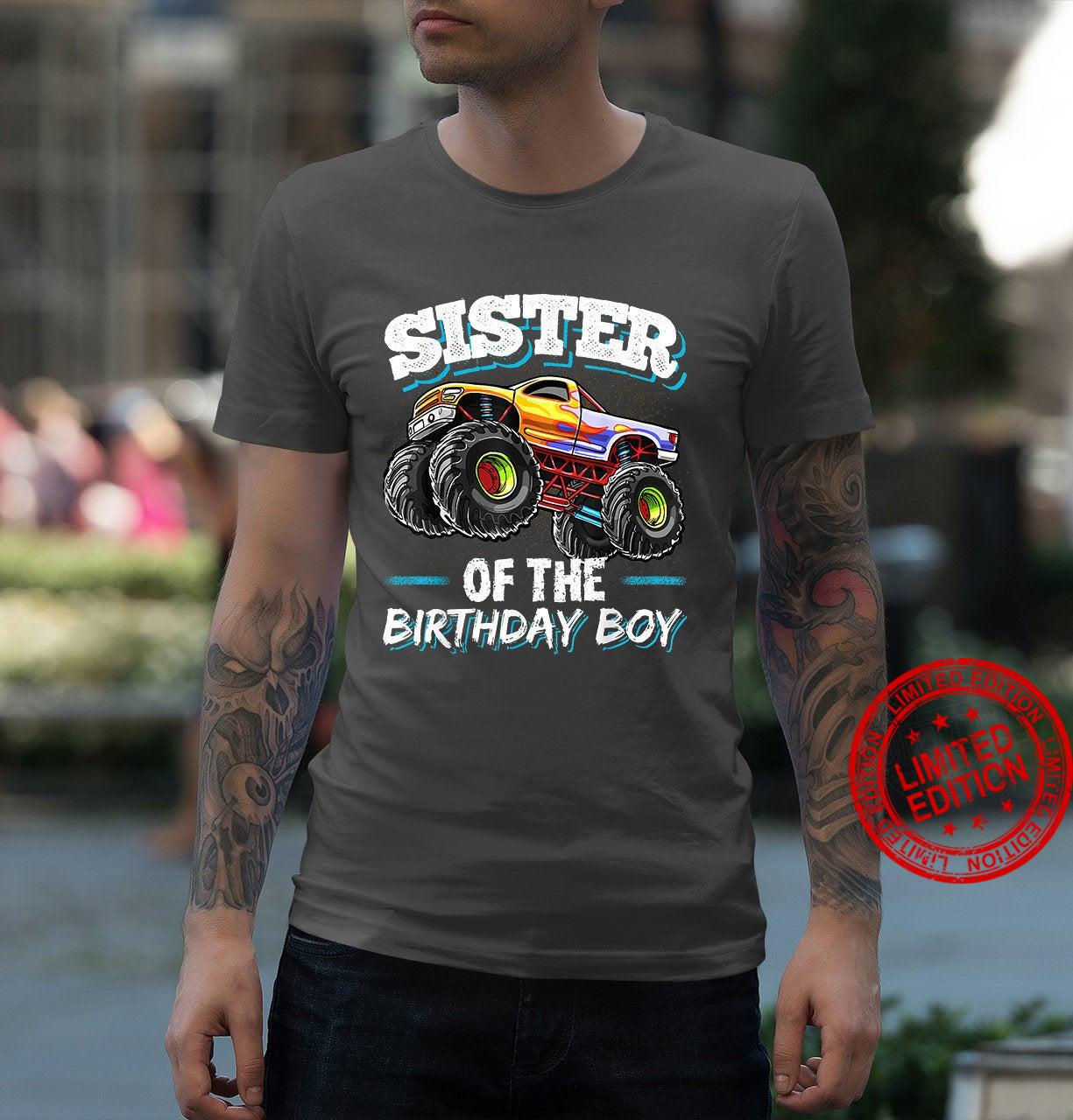 Sister of Birthday Boy Monster Truck Birthday Party Shirt