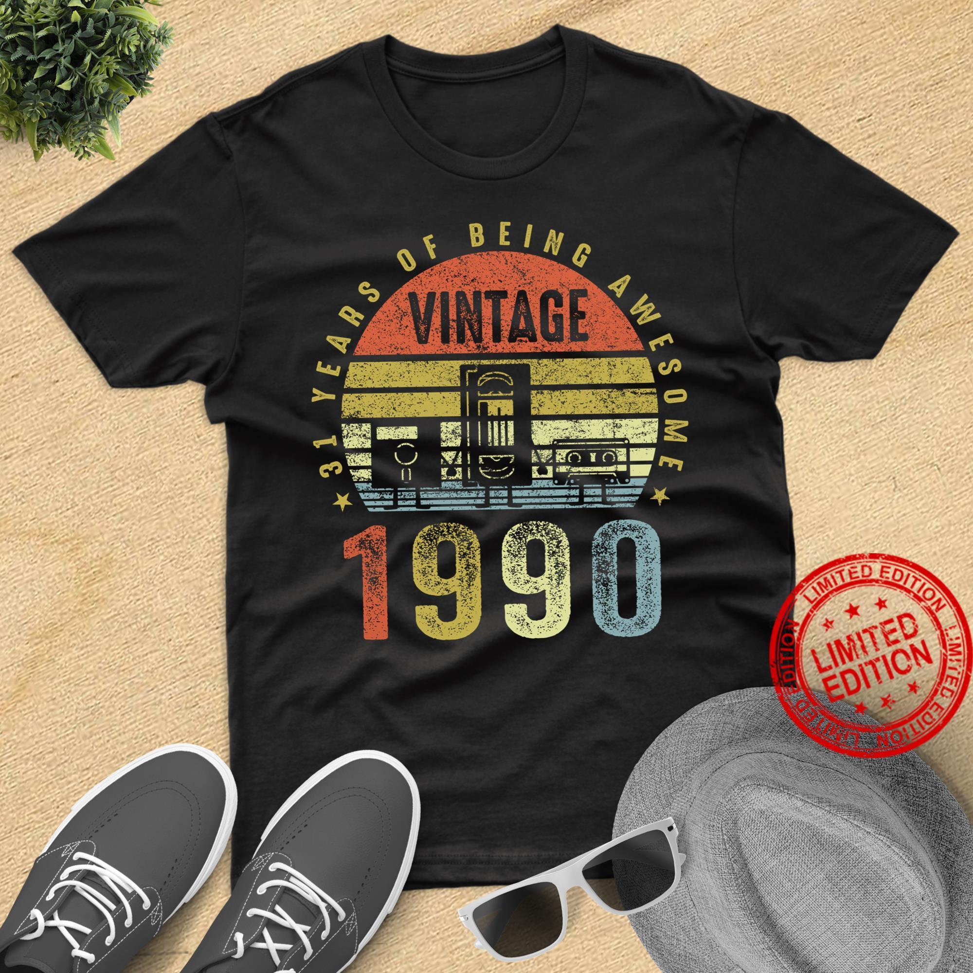 Vintage 1990 , Cassette Tape Birthday Shirt