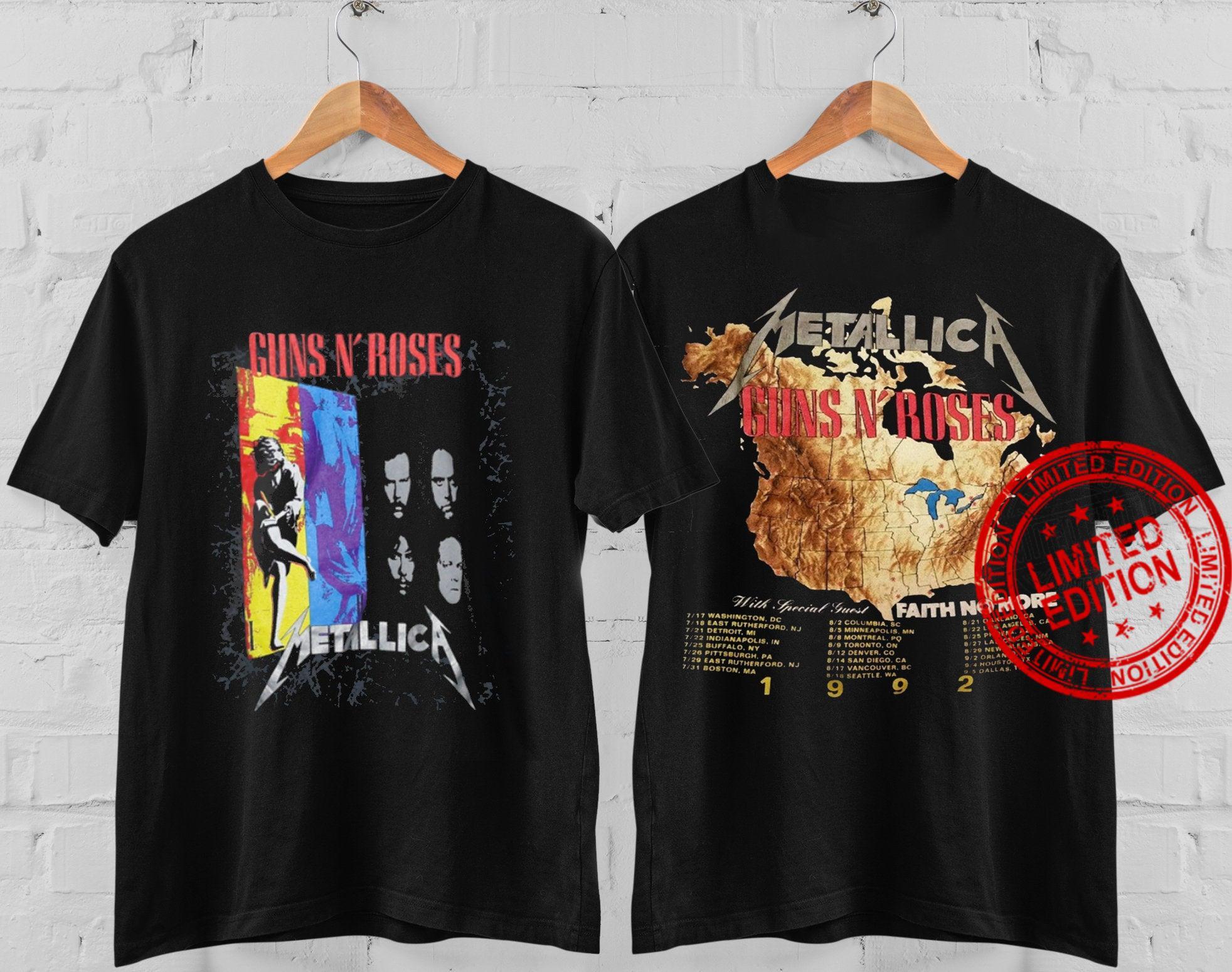 Vintage Guns N Roses X Metallica Faith No More 1992 Tour Concert Shirt