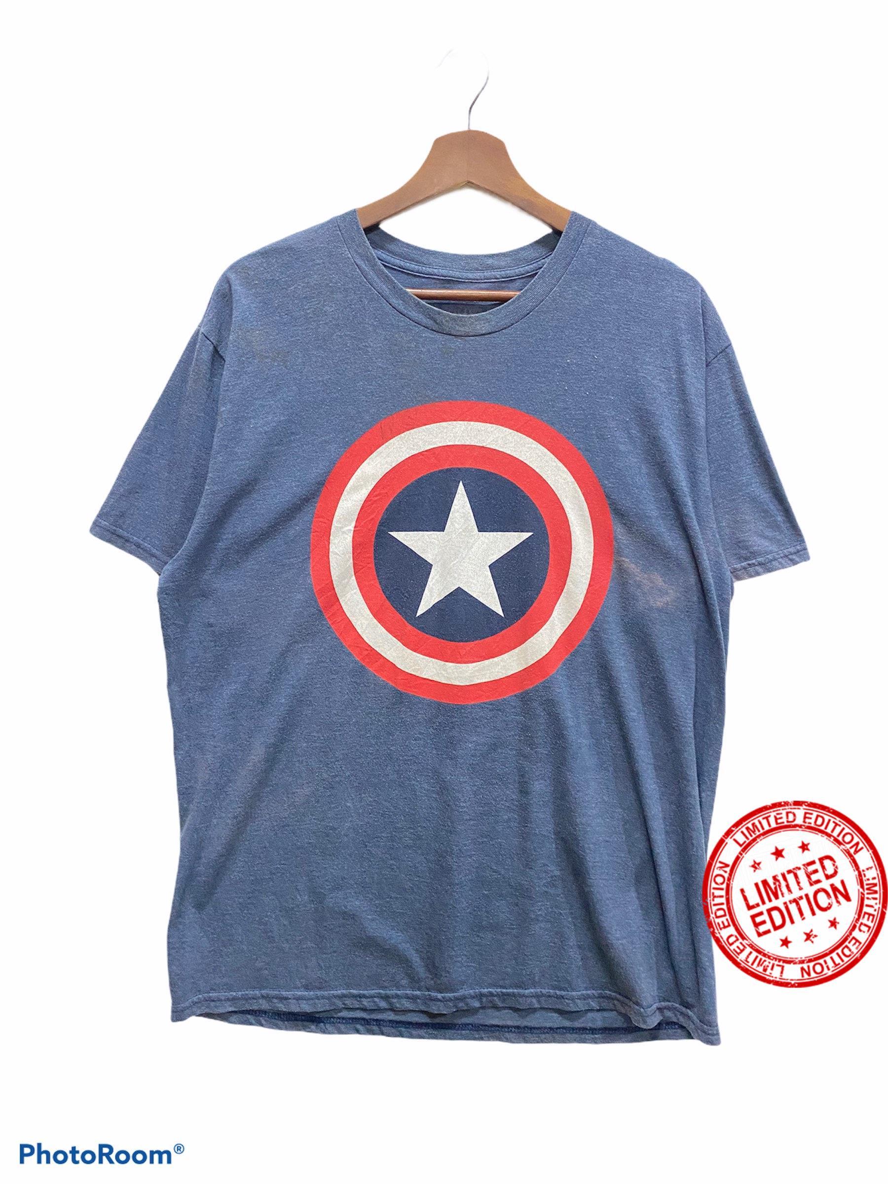 vintage 90s cartoon captain america anime big print design sportswear shirt