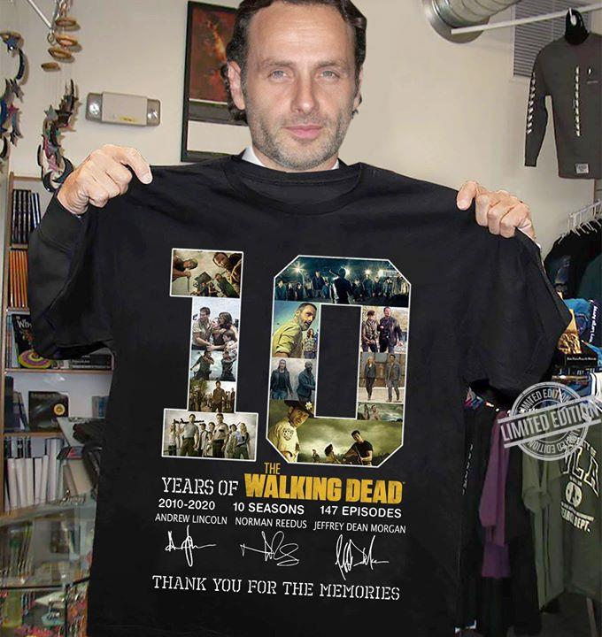 10 Years Of The Walking Dead Signatures Thank You For The Memories Shirt